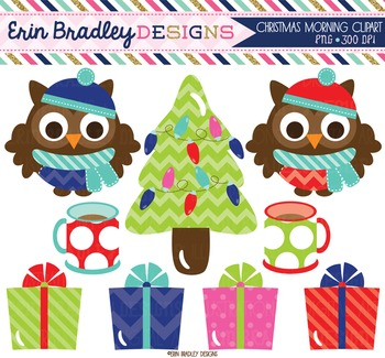 Clipart - Christmas Owls Presents Tree and Coffee Mugs Digital Graphics