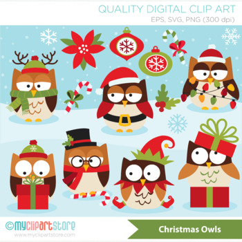 Clipart - Christmas Owls (red and green)