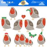 Clipart- Christmas Robins Clipart. Christmas Clipart. Birds Clipart.