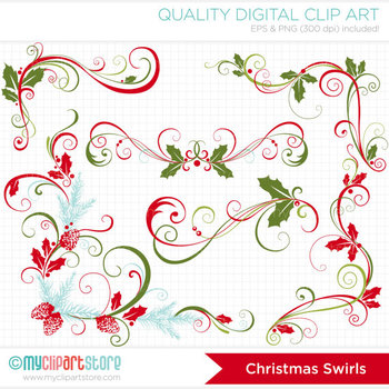 Clipart - Christmas Swirls / Christmas Floral Elements