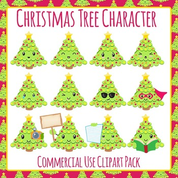 Christmas Tree Character Cute Clip Art Pack for Commercial Use