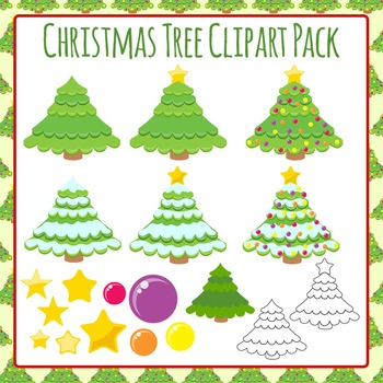 Christmas Tree Clip Art Pack for Commercial Use