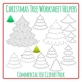 Christmas Tree Worksheet Helpers Commercial Use Clip Art Pack