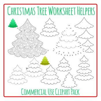 Christmas Tree Worksheet Helpers Commercial Use Clip Art Pack