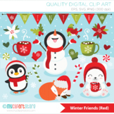 Christmas Animals Clipart, Winter Friends, Red and Green (Background included!)