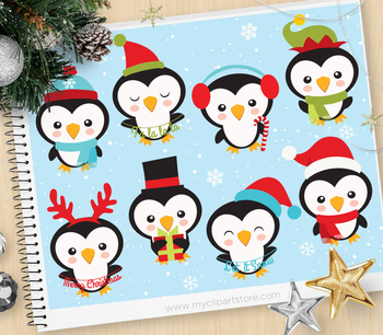 Clipart - Christmas / Wintery Penguins