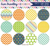 Clipart - Circle Frames Digital Graphics with Blue Orange Green Yellow Patterns