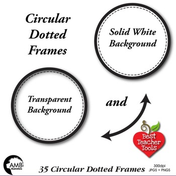 Circle Frames clipart, Dotted Circle Labels Clipart Commercial Use, AMB-1152
