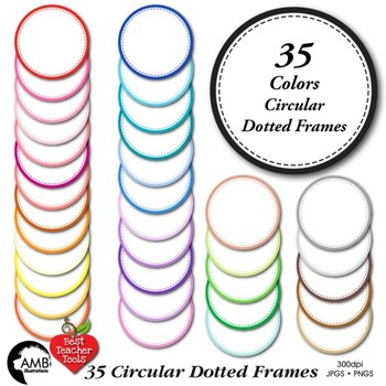 Clipart, Circle Frames clipart, commercial use, AMB-1152