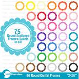 Clipart, Circle Scalloped Frames commercial use, vectors, AMB-1153