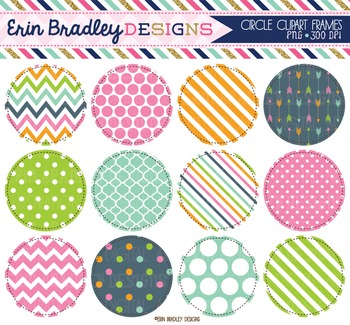 Clipart - Circles Digital Frames Graphics in Pink Blue Green & Orange