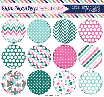 Clipart - Circles Digital Frames Graphics in Pink Blue and Green