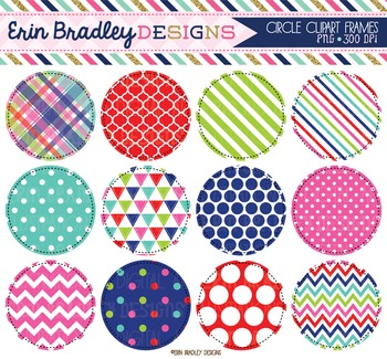 Clipart - Circles Digital Frames Graphics in Red Blue Green and Pink