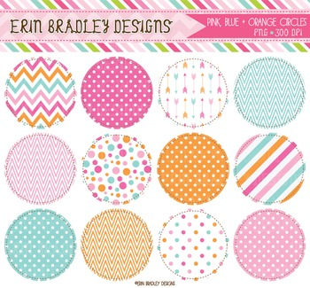 Clipart Circles - Pink Blue Orange Digital Graphics