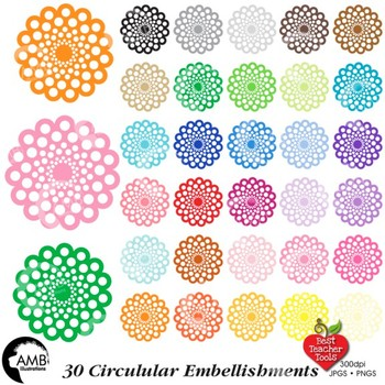 Clipart, Circular Embellishments frames, round labels, commercial use, AMB-1145