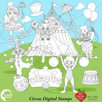 Circus Carnival Digital Stamps Clipart, Black Line, Outlines, AMB-1164