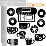 Clipart Coffee and Sweet Donuts Silhouette E039 (coffee shop clip art)