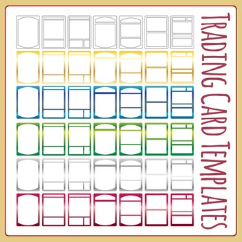 Collectible Trading Card Templates Clip Art Pack for Commercial Use