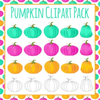 Pumpkin Clip Art Color and Shape Pack for Commercial Use