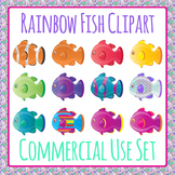 Rainbow Fish Clip Art Set for Commercial Use