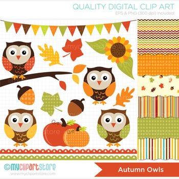 CLIPART BUNDLE - Fall / Autumn Owls