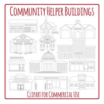 Community Helper Buildings Black and White Clip Art Pack