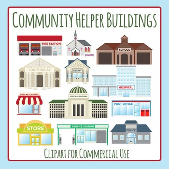 Community Helper Buildings Clip Art Pack for Commercial Use