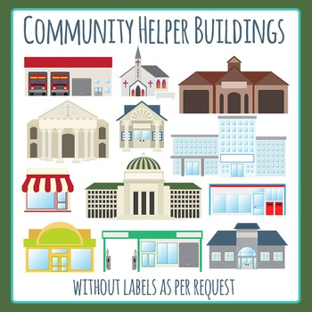Community Helper Buildings (Without Words) Clip Art for Commercial Use
