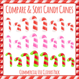 Christmas Candy Canes - Compare and Sort Clip Art Pack for Commercial Use
