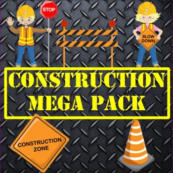 Construction Clipart, MEGA BUNDLE,Digital Papers Stamps, AMB-1171