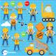 Construction Clipart, Road Work Clipart, Digital Images, AMB-1171