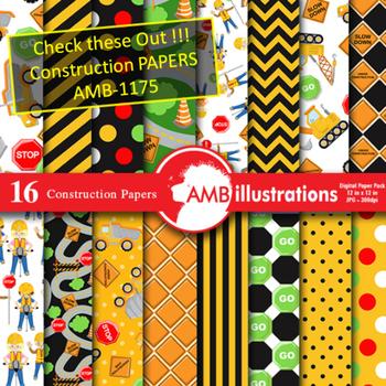 Clipart, Construction Digital Stamps Black Line, outlines, AMB-1173