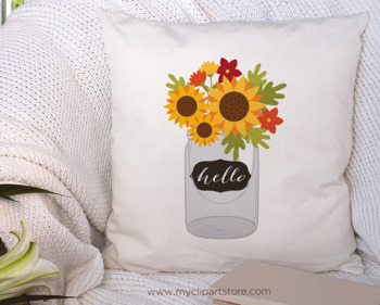 Clipart - Cottage Sunflowers (Fall / Autumn)
