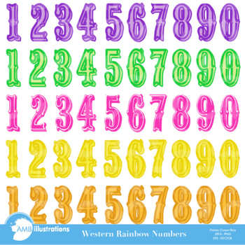 Clipart, Cowboy Numbers Clipart , Rainbow Colors, Western