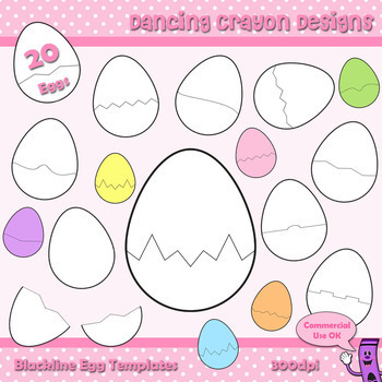 Easter Eggs Clip Art / Cracked Egg Puzzle Cards