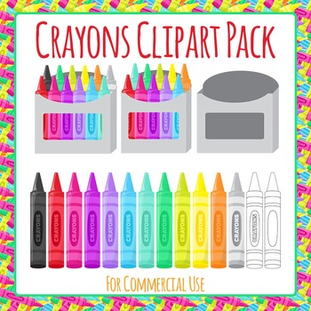 Crayons Clip Art Set for Commercial Use