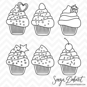 Clipart - Cupcakes Set Black Line Art