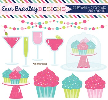 Clipart - Cupcakes and Cocktails Bunting and Beverages Digital Graphics