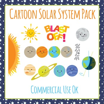 Space Solar System Space Clip Art Set for Commercial Use