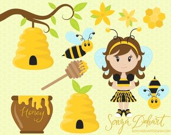 Clip Art: Cute Honeybee Bee Spring Clip Art Set