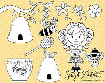 Clip Art: Cute Honeybee Bee Spring Line Art Digital Stamp Clip Art Set