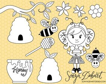 Clip Art: Cute Honeybee Bee Spring Line Art Digital Stamp
