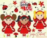 Clip Art: Cute Ladybugs Lady Bug Clip Art Set