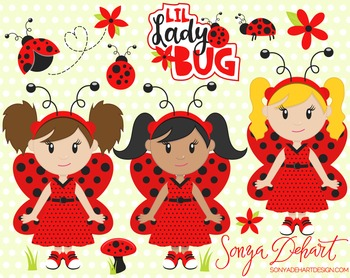 Clip Art: Cute Ladybugs Lady Bug Clip Art Set