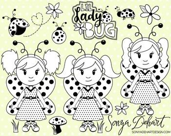 Clip Art: Cute Ladybugs Lady Bug Line Art Digital Stamp Clip Art Set