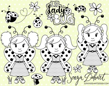 Clip Art: Cute Ladybugs Lady Bug Line Art Digital Stamp Cl