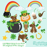 Clipart: Cute Leprechaun and Puppy, St. Patrick's Day Clip art