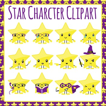 Star Character Clip Art Set for Commercial Use