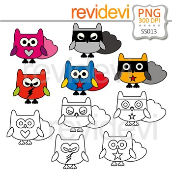 Clipart Cute Owl Superhero - Clip art and Line art