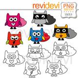 Clipart Cute Owl Superhero - Clip art and Line art
